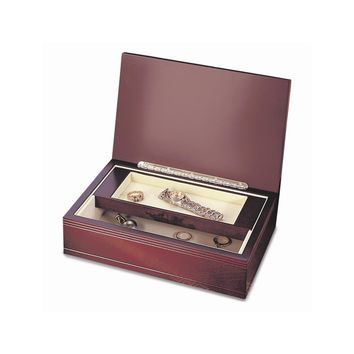 Rosewood Finish Wood Hinged Jewelry Box - Perfect Gift