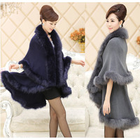 High Quality Fashion Occident Style Cashmere Raccoon Fur Coat Women Long Faux Fur Shawl Cloak Knitted Sweater Cardigan