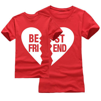 Best Friend Matching Family Clothing Outfit Letter Golden print T shirt For Mom Son daughter Kids Mother 100%Cotton Fashion Tees