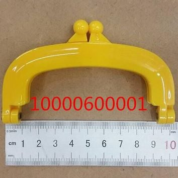 Free Shipping-6PCs Yellow Bead Purse Bag Plastic Frame Kiss Clasp Lock Handle 10cm DIY Handmade Bag Parts Accessories J2557