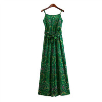 Green Floral Print Strap Tie-Waist Maxi Dress