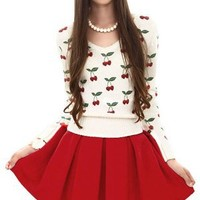 New Women Fall Winter All Matching Red Dress Lady Wool Warm Pleated Short Skirt