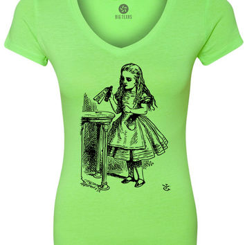 Alice in Wonderland - Drink Me (Black) Women's Short-Sleeve V-Neck T-Shirt