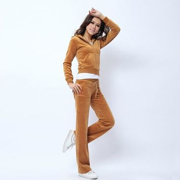 Juicy Couture Pure Color Velour Tracksuit 6047 2pcs Women Suits Brown