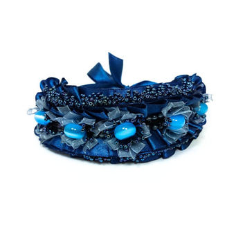 Spring wedding Dark Blue Bead Embroidered Bracelet Latvian designer Jewelry bead embroidery Ribbon cateye bead cuff Gift for HER OOAK