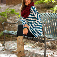 Ride The Stripe Tunic, Teal/White