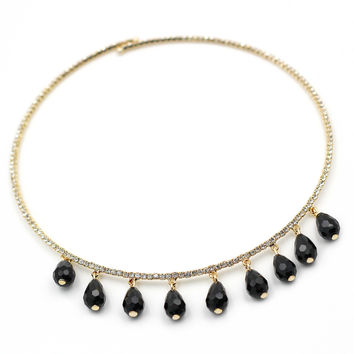Golden circle black crystal necklace
