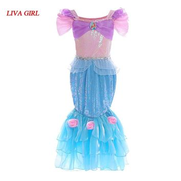 LIVA GIRL New Girls Dress Little Mermaid Fancy Dressed Kids Clothing Girls Mermaid Dresses Princess Ariel Cosplay