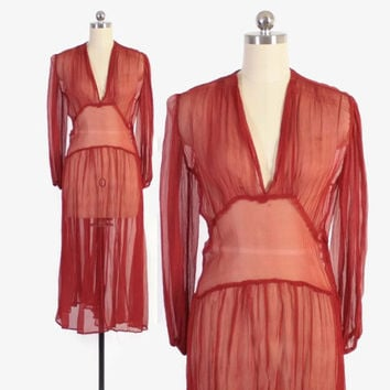 Vintage 30s DRESS / 1930s Sheer Brick Red Silk Crepe Chiffon Dress S - M