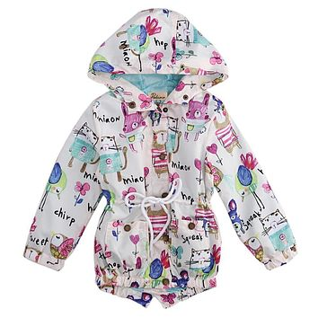Hot 2017 New Brand Children Long Sleeve Jacket Coat Spring Autumn Boys Girls Animals Graffiti Hand Print Outerwear Clothing