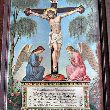 Antique The Crucifixion Framed Picture, Jesus Picture, Stations Of The Cross, Catholic Christian Wall Decor
