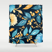 Teal and Golden Floral Shower Curtain by noondaydesign