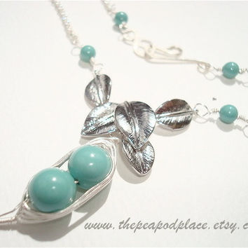 Swarovski Pearl Necklace - Leaf Design - wire wrapped necklace - pick your colors - custom necklace