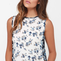 Wild Blooms Cream Floral Print Top