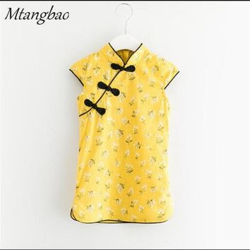Factory 2017 Summer Chinese Style Tang Suit Vintage Casual Cheongsam Kids Flower Print Qipao Dress for Baby Girls Clothing