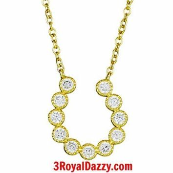 14k Yellow Gold layer on Sterling Silver Crystal CZ Horseshoe Pendant Necklace