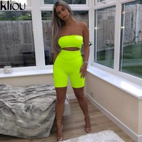 Kliou 2018 women sexy short fluorescence playsuits short hollow out strapless female sexy skinny solid party rompers bodysuits