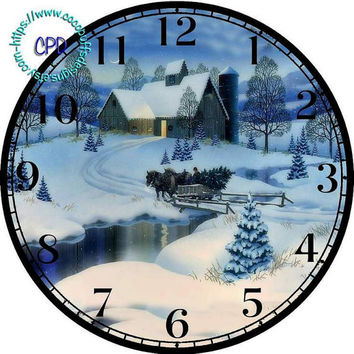 "Christmas Sleigh Ride thru the Snow Art - -DIY Digital Collage - 12.5"" DIA for 12"" Clock Face Art - Crafts Projects, old house, horse"