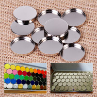 New 10Pcs/Lot DIY Empty Round Tin Pans Portable for Eyeshadow Palette 26mm Powder Pot Storage Responsive to Magnets Makeup Tool