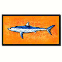 Shark Fish Orange Canvas Print Picture Frame Gifts Home Decor Nautical Wall Art