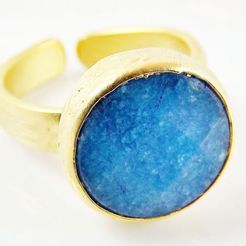 Blue Round Jade Stone Adjustable Cocktail Statement Ring - 22k Matte Gold Plated - 1PC