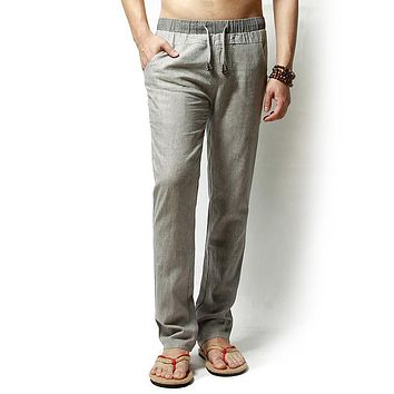 Straight Men Pants Linen Drawstring Flax Pants Full Length solid Linen Cotton Home Men's Trousers Fashion Pants Linen Size M-3XL