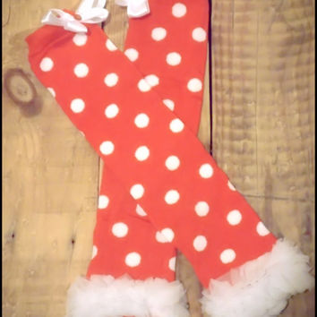 "Christmas Leg Warmers Baby Leg Warmers For Toddler Girls, Little Girls Photography Prop ""Holly Jolly"" Striped or Polka Dot"