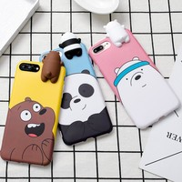 3D Cute Cartoon We Bare Bears brothers funny toys soft phone case for iphone 5 5s 6 6s 7 8 plus 10 X  cover for iphone 7 funda