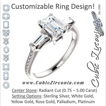 Cubic Zirconia Engagement Ring- The Kimiko (Customizable 3-stone Radiant Cut Design with Baguette Accents and Thin Wheat-Filigree Band)