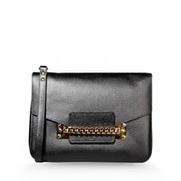 Sophie Hulme Black Envelope Chain Bag - Leather Shoulder Bag - ShopBAZAAR