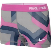 Nike Lady Pro Print 2.5 Inch Compression Shorts - Medium - Grey