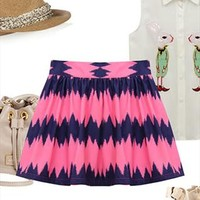 Fashion Brilliant Cool Wavy Strip Print Bubble Skirt from perfectmall