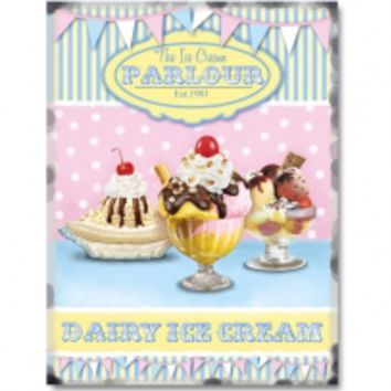 Ice Cream Parlour Sundaes Pink Flags Metal Sign