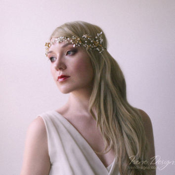 Golden color beaded bridal hair wreath. Jeweled hair band. Crystal and beads hair tiara