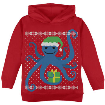 Ugly Christmas Sweater Octopus Red Toddler Hoodie