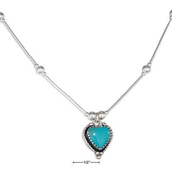 "Sterling Silver 16"" Roped Edge Simulated Turquoise Heart Liquid Silver Necklace"
