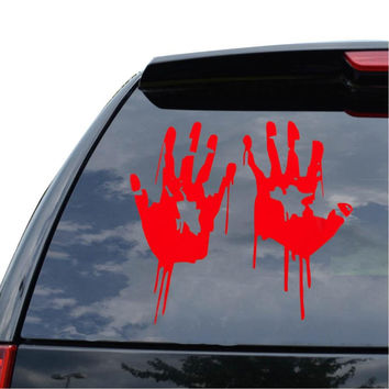 2X Red Bloody Blood Vampire Hand Print Vinyl Car Window Laptop Decal Zombie Horror Creepy Funny Sticker Car Styling