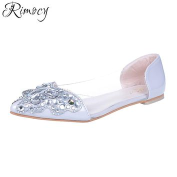 Rimocy pointed toe low heels wedding shoes crystal bride silver rhinestone butterfly party shoes woman 2017 autumn ladies shoes