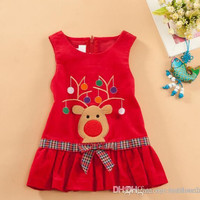 2014 Christmas clothes New baby girl dress spring autumn fashion Dress Bowknot Kids Clothing dress cartoon Corduroy vest dress Red 100-140cm