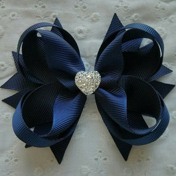 Navy Hair Bow with Sparkly Heart~ Navy Stacked Boutique Hair Bow~ Gift for Her~ Gift for Girl~ Photo Prop~ Formal Hair Bow~ Navy Bow