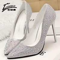 Sexy Women Red Bottom High Heels Shoes Woman Pumps Extreme High Heels Ladies Wedding Shoes Chaussure Femme Talon Silver Gold #50