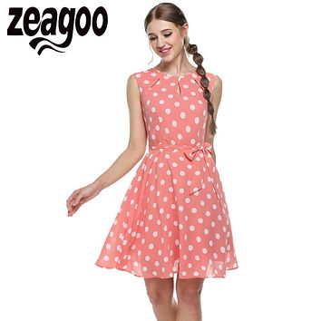 Zeagoo 2017 sexy vestido summer dress dot print chiffon elegant casual bow dress White, Pink, Blue, Black XXL