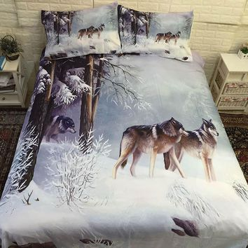 3D Wolf Printed Bed Linen Bedding Sets Comforter Bed Cover Quilt Duvet Cover Set Queen King Size Bedding Double Single Sheets