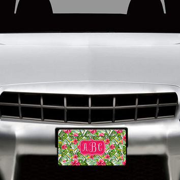 License Plate Frame Custom - Lily Beach Floral License Plate Monogram - Car Coasters - Key Chains for Women