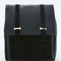 Black Suede Square Metal Bar Backpack - Urban Outfitters