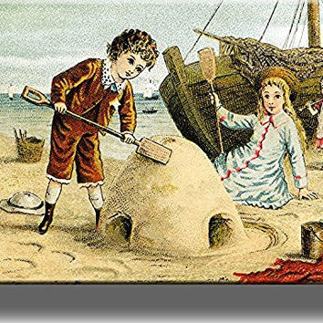 Boy and Girl Playing in Sand Vintage Style Picture on Stretched Canvas, Wall Art Decor, Ready to Hang!