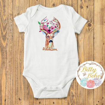 Baby Name Onesuit®, Custom Romper, Floral Deer Onesuit, Newborn Photo Prop, Boho Baby Clothes, Monogram Baby, Newborn Onesuit, Baby Shower Gift