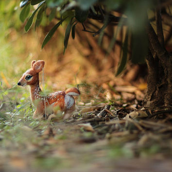 Poseable Needle Felted Fawn Sculpture, Needle Felted Animal, Felt Fawn Figurine, Fawn Soft Sculpture, Woodland, Art Doll, Felt Animal, OOAK