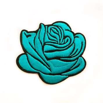 Iron on Badge Blue Rose Patch Goth Patches Blue Flower Iron On Patch Jacket Patch Floral Patches Grunge Patches Embroidered Patch Blue Rose