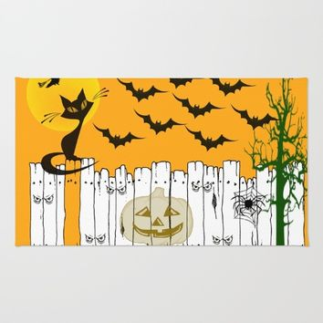 Black Cat on a Spooky Fence - Halloween Rug by Scott Hervieux